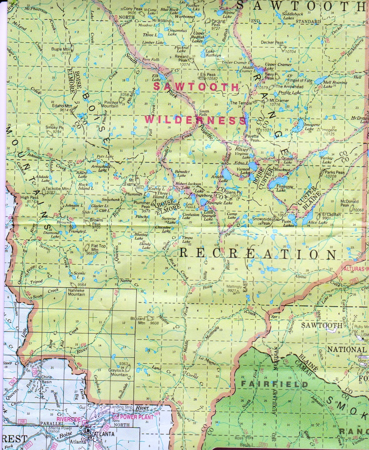 Pioneer Mountains Idaho Map.Directions
